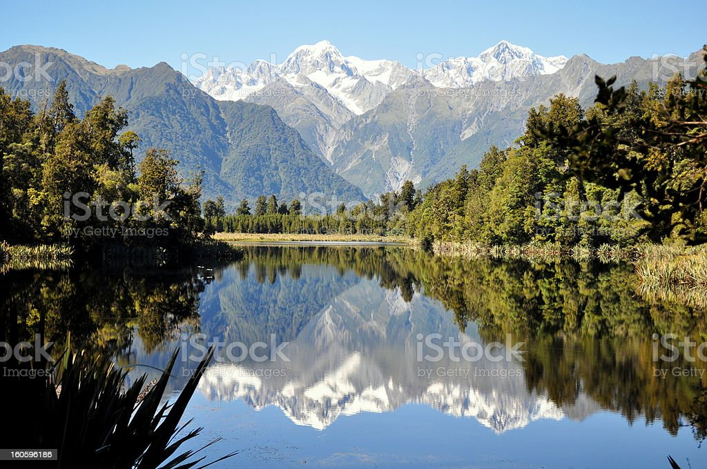 Reflection in lake matheson. stock photo