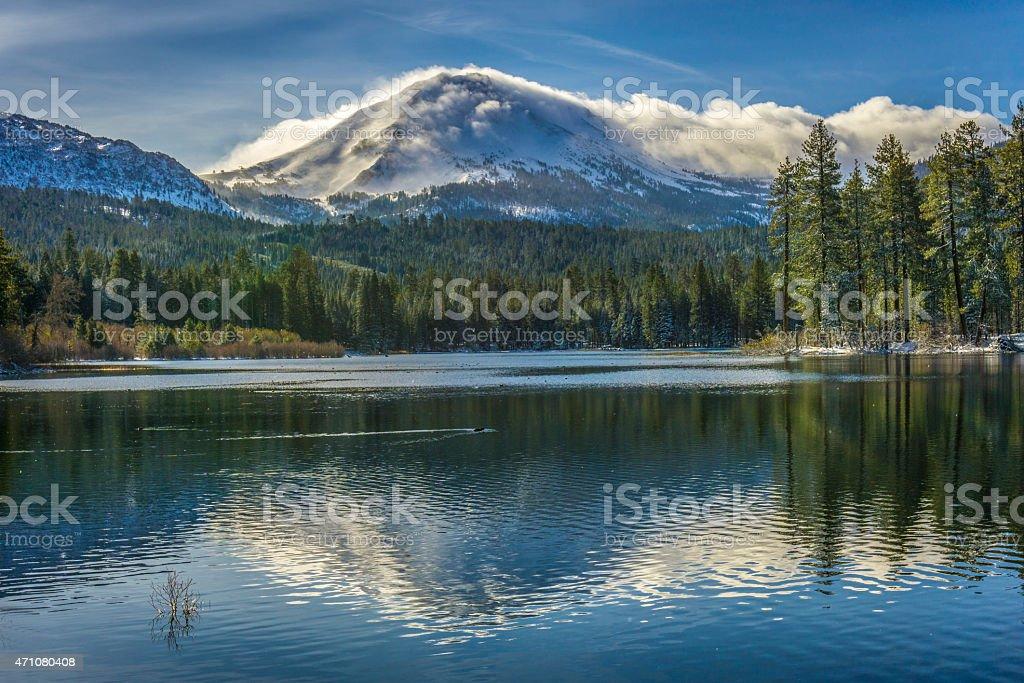 Reflection in Manzanita Lake, Lassen Peak stock photo