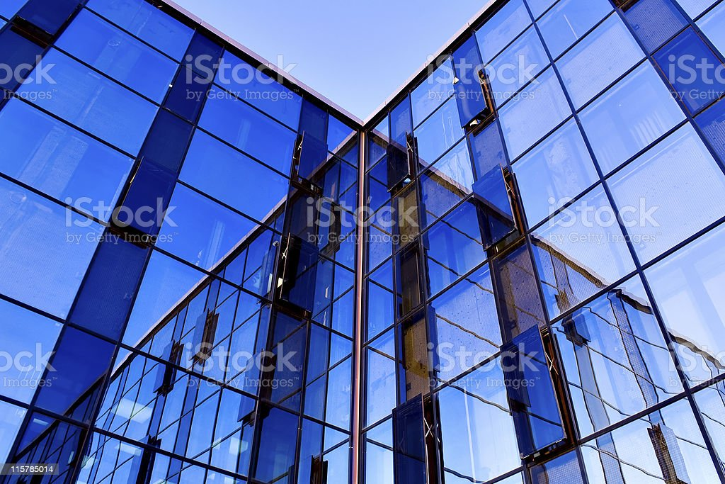 reflection in modern windows royalty-free stock photo