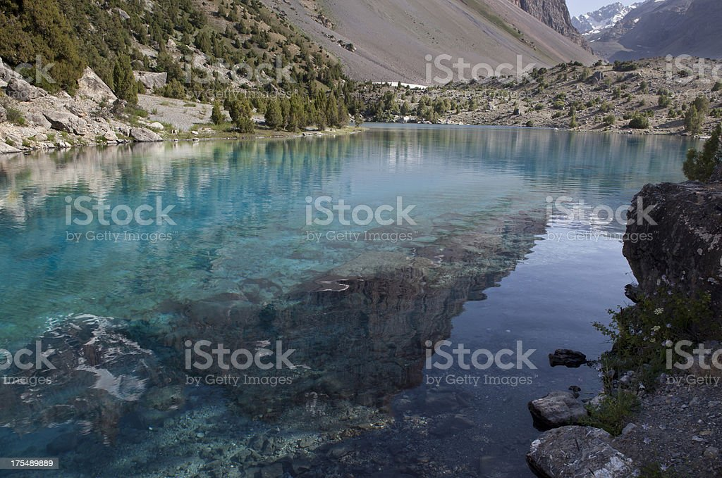 Reflection in mountain lake (Central Asia) royalty-free stock photo