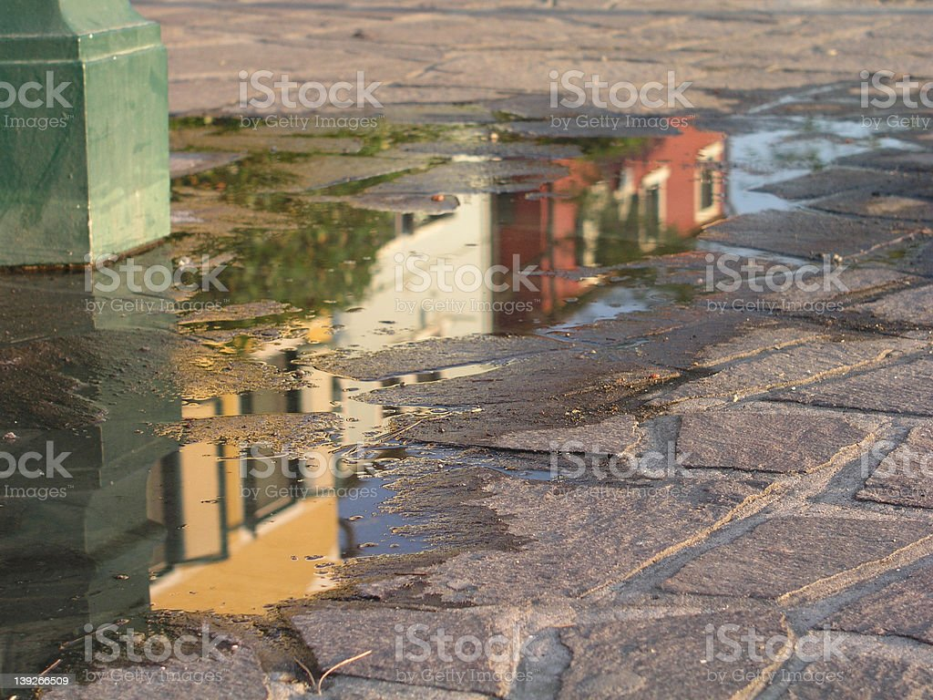 Reflection in puddle royalty-free stock photo