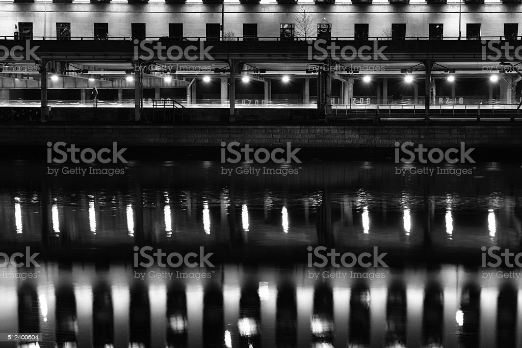 Reflection in Schuylkill River stock photo