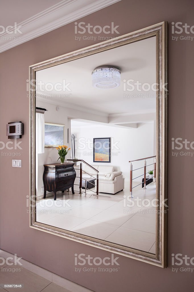 Reflection in the mirror stock photo
