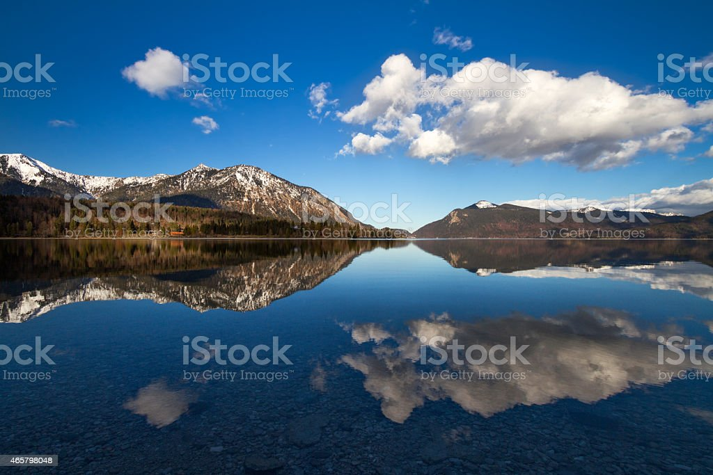 Reflection in Walchensee, German Alps, Bavaria, Germany stock photo
