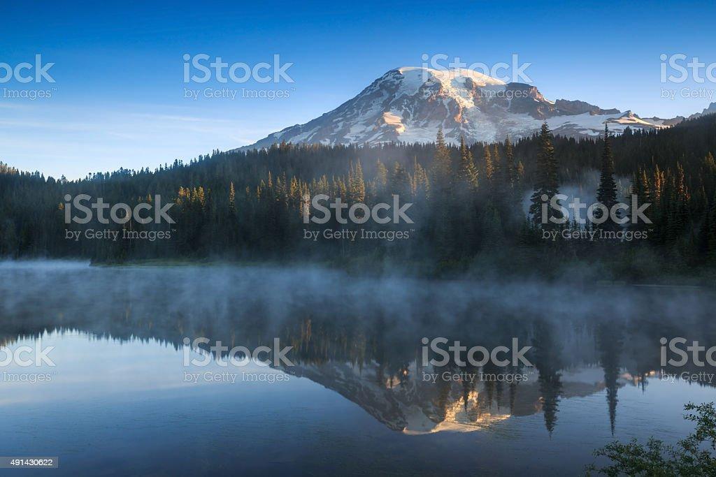 Reflection Lake, Mount Rainier National Park stock photo
