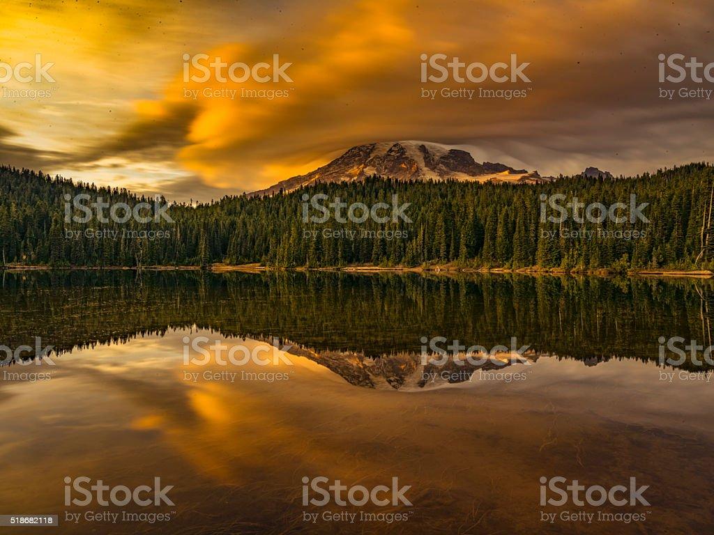 reflection lake of MT.Rainier stock photo
