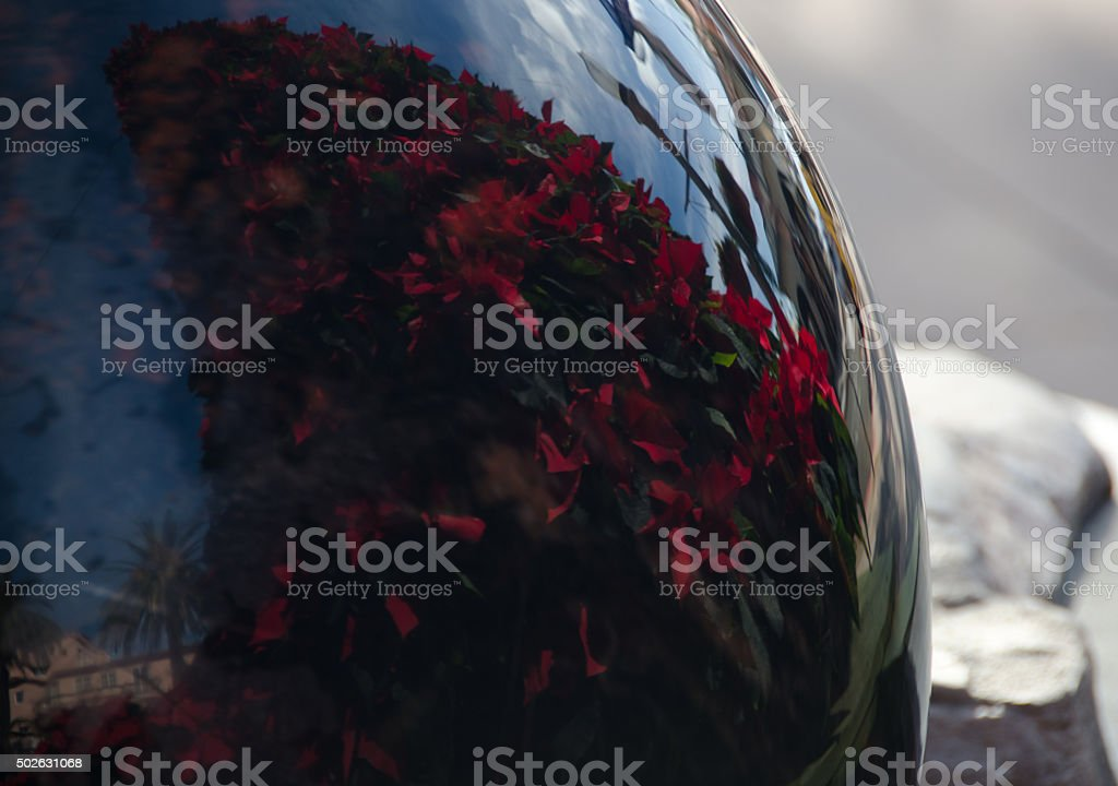 Reflection of a Christmas tree made of Poinsettias in a marble ball stock photo