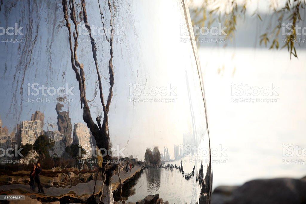 Reflection of a city on a lake stock photo