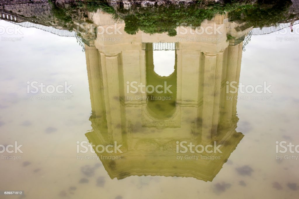 Reflection of a monument stock photo
