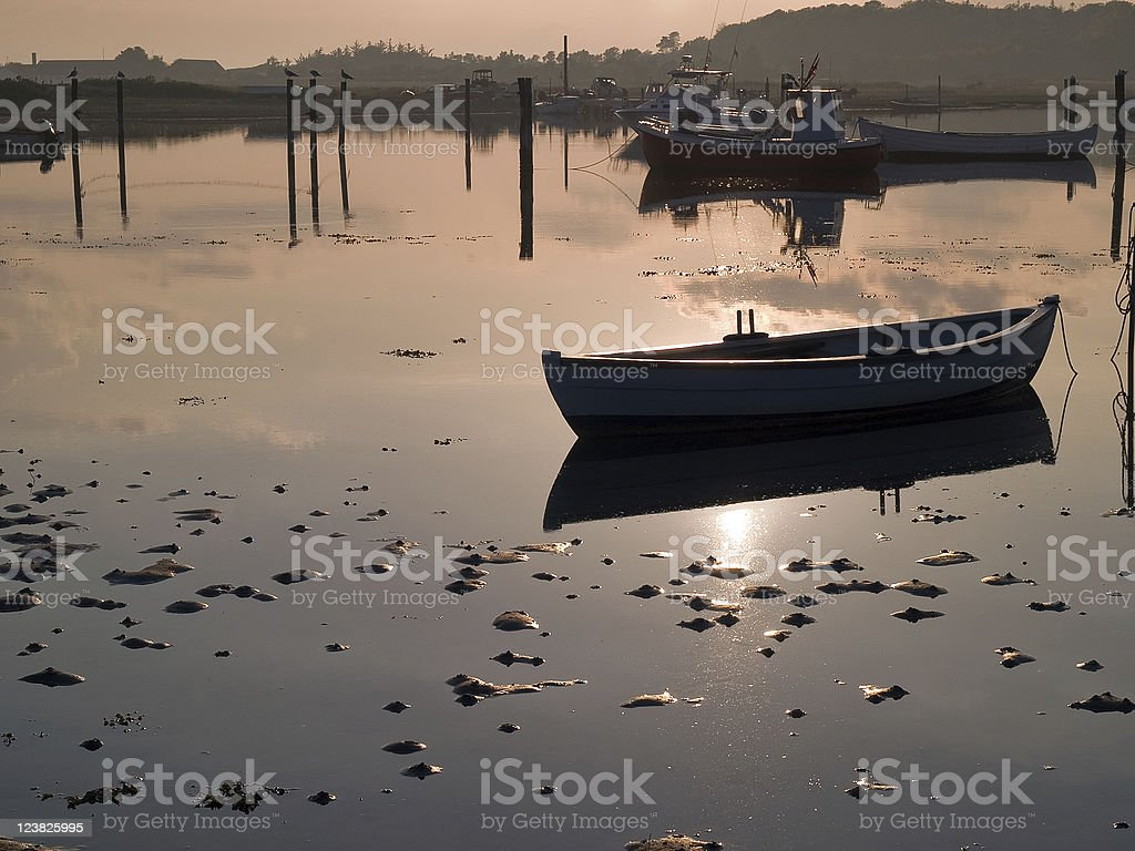 Reflection of a small dinghy dory boat royalty-free stock photo