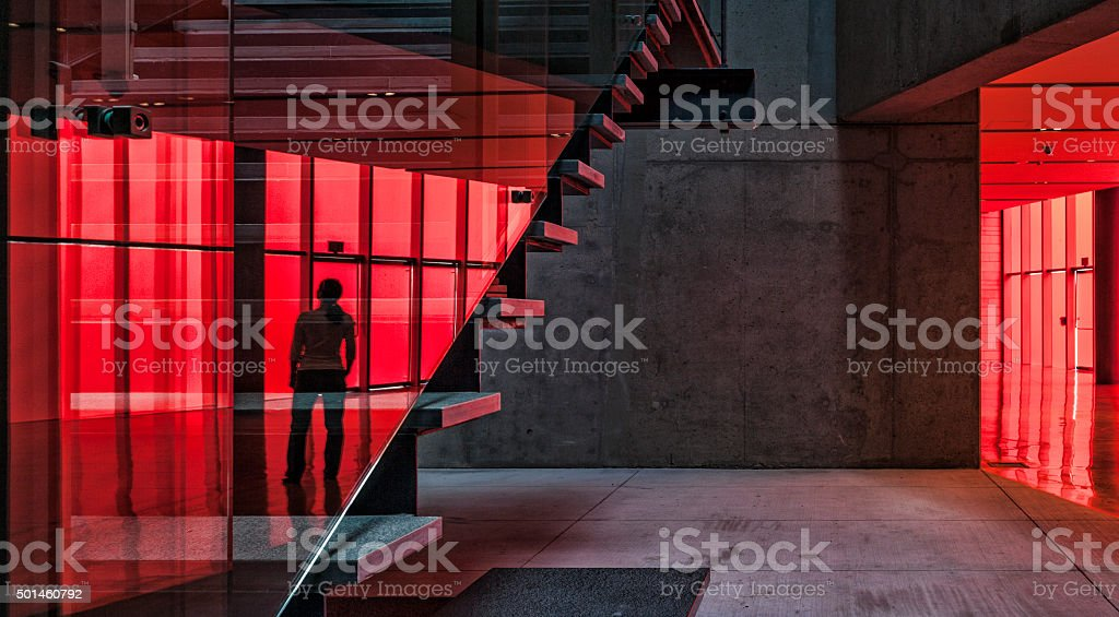 Reflection of Woman on Staircase at City Hall in Seattle stock photo