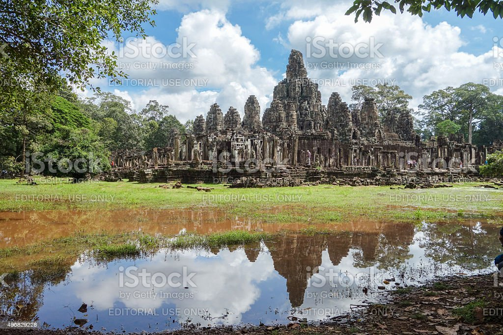 Reflection of Bayon Temple stock photo