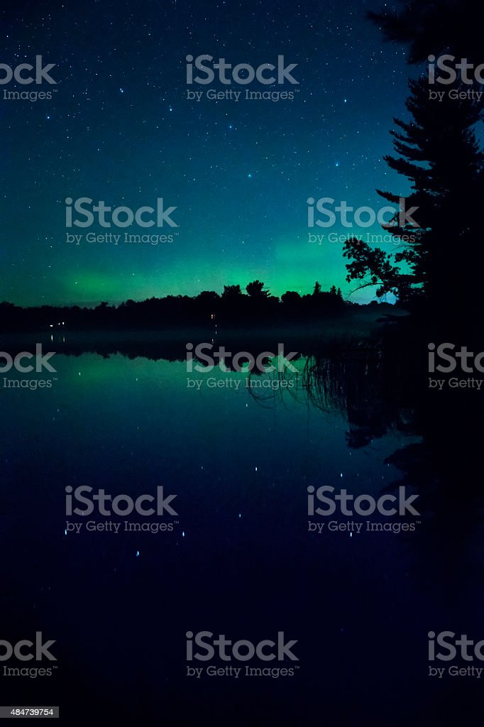 Reflection of Big Dipper and Aurora Borealis in lake stock photo