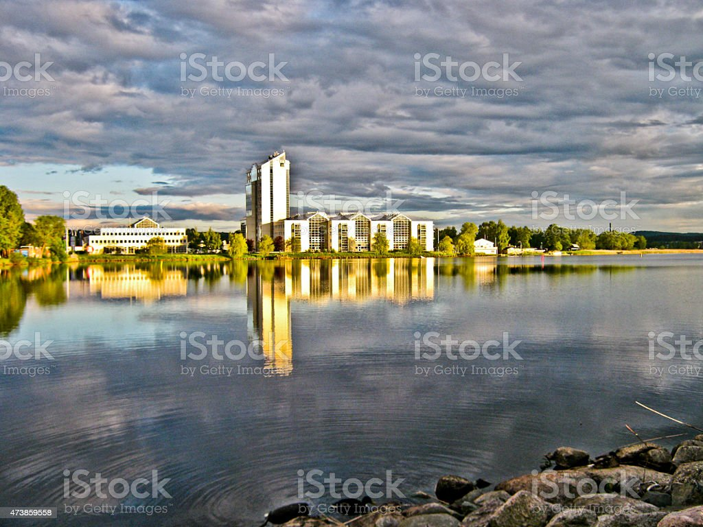 Reflection of building in the water royalty-free stock photo