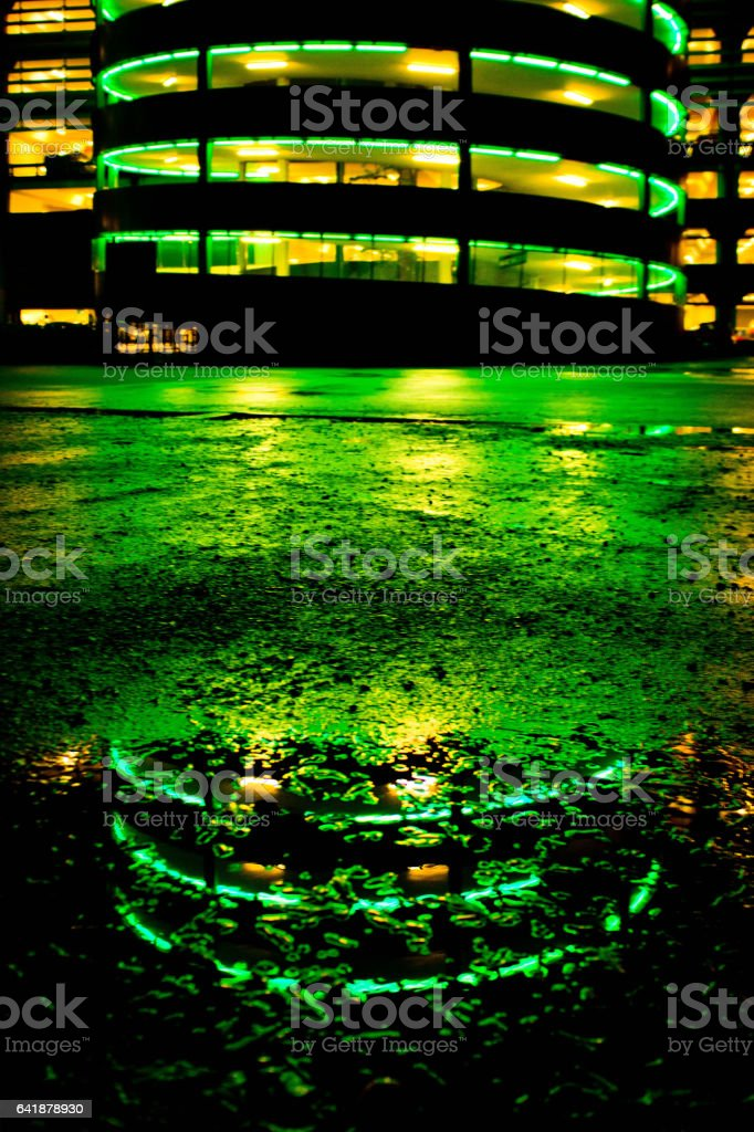 Reflection of Cabot Circus multi storey car park stock photo