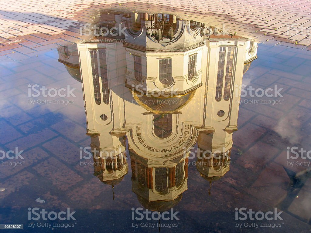 Reflection of Cathedral in the pool royalty-free stock photo