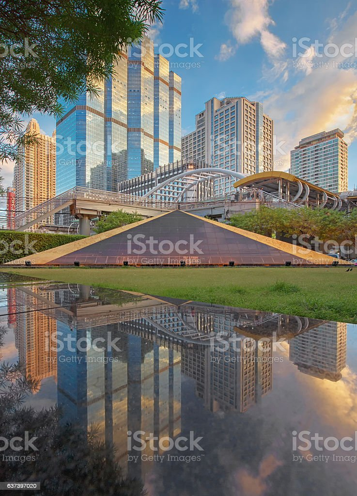 Reflection of Chong Nonsi, Bangkok, Thailand stock photo