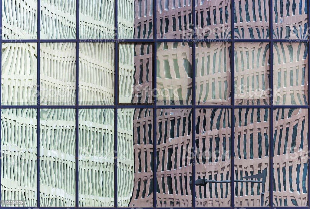 Reflection of Ciutat de la Justicia, Barcelona. stock photo
