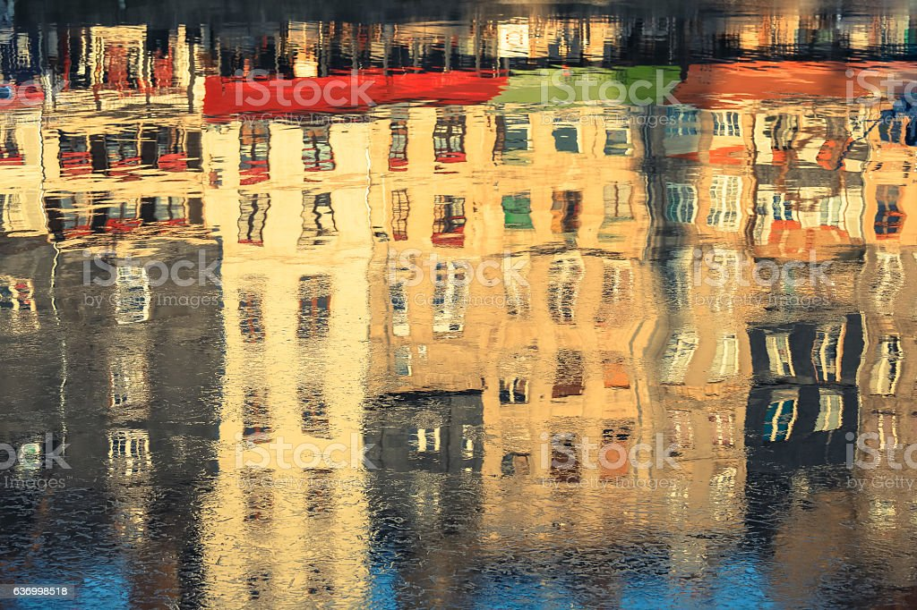 Reflection of colourful buildings stock photo