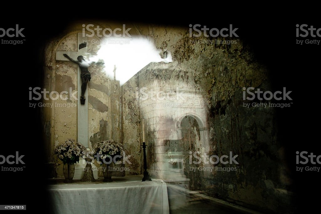 Reflection of crucifix in La Recoleta Cemetery royalty-free stock photo