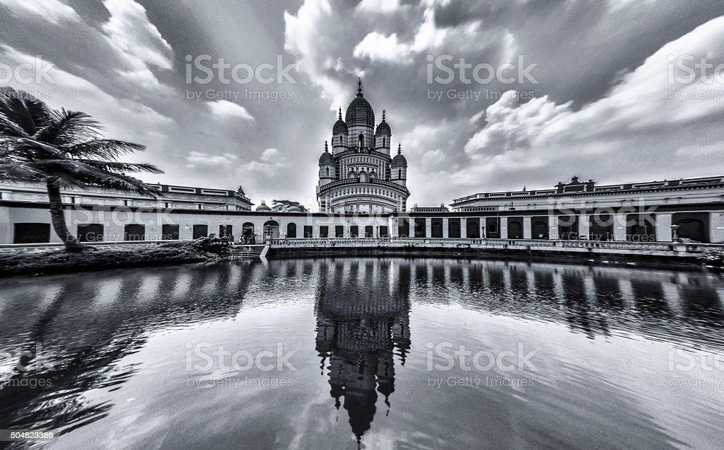Reflection of Dakshineswar kali Temple stock photo