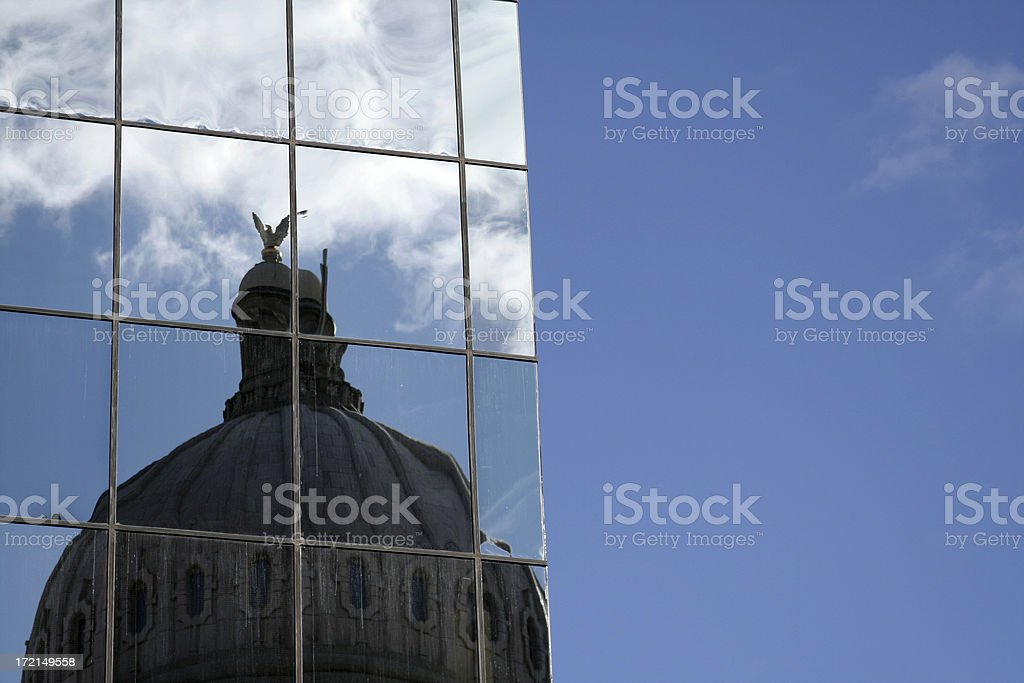 Reflection of Dome in Modern Building stock photo