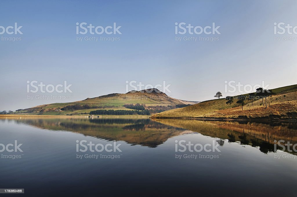 reflection of dovestone on a clear sunny day - 40 stock photo