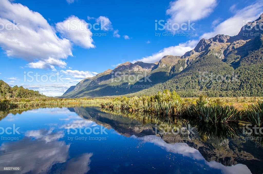 Reflection of Earl Mountains on the Mirror Lake. stock photo