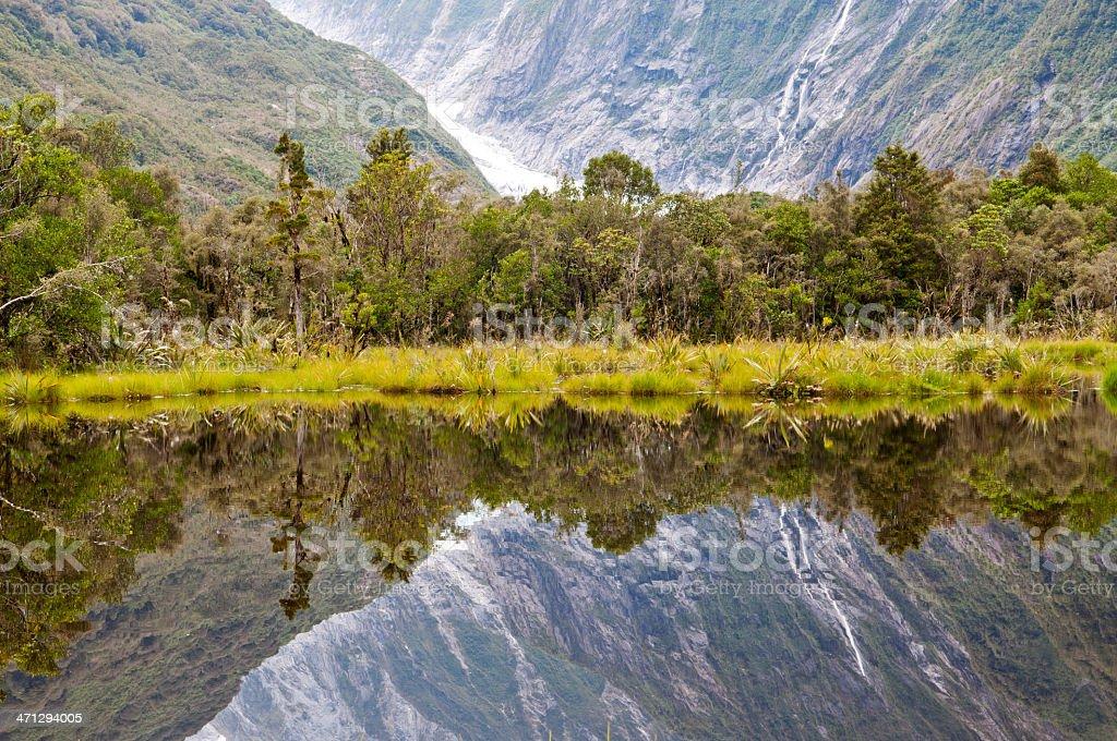 Reflection of Fox Glacier royalty-free stock photo