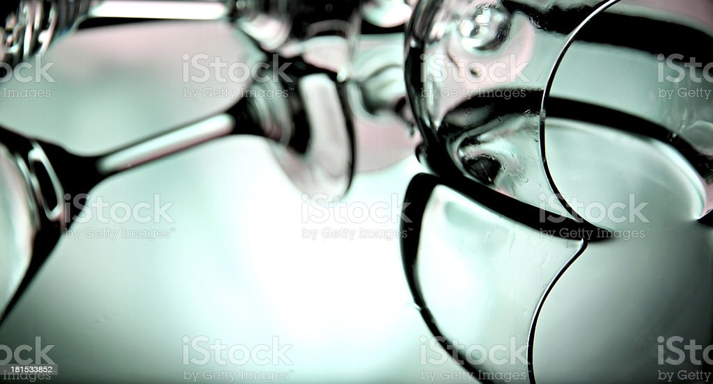 Reflection of glass in the basin on Green Background. royalty-free stock photo