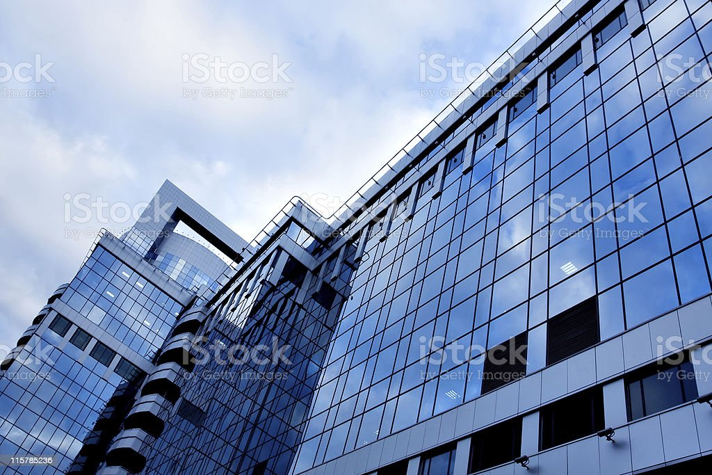 reflection of glass wall in business center royalty-free stock photo