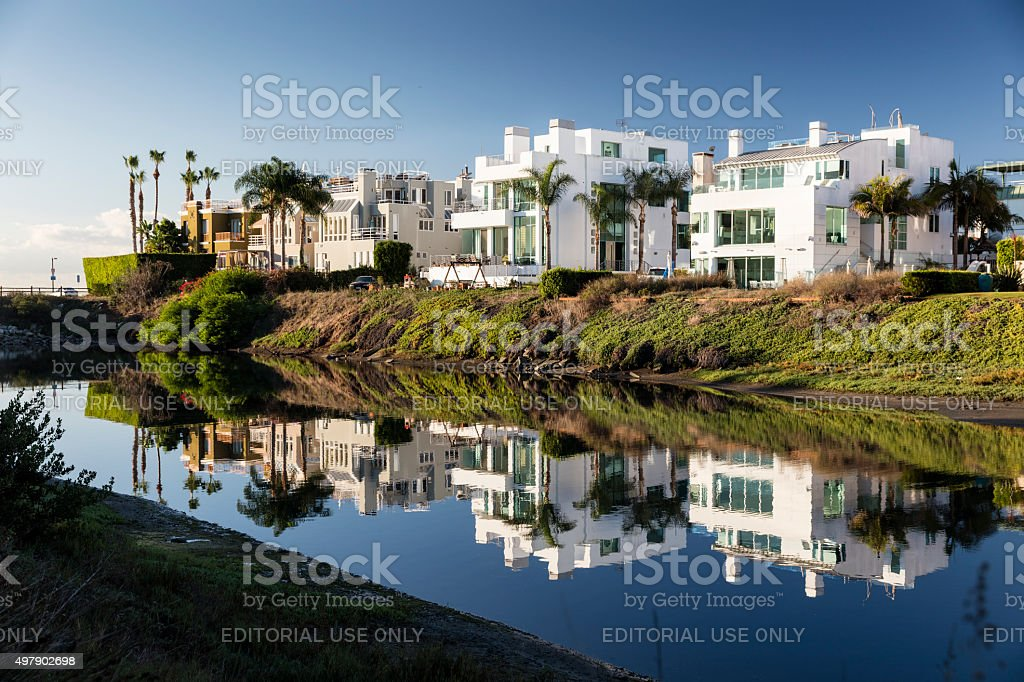 Reflection of Houses, Ballona Lagoon, Marina del Rey, California, USA stock photo