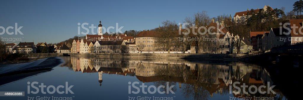 Reflection of Landsberg am Lech stock photo