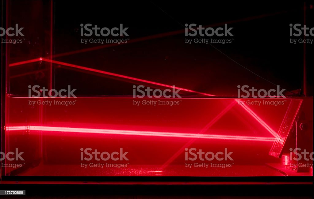 Reflection of laser beam in water royalty-free stock photo