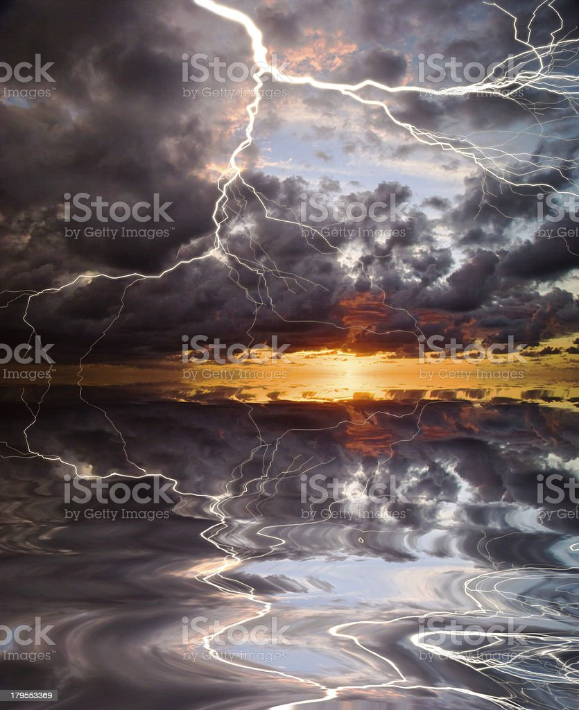 Reflection of lightning royalty-free stock photo