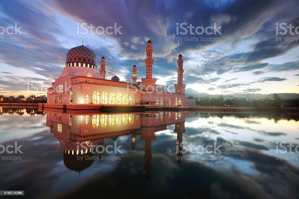 Reflection of Likas Mosque, Kota Kinabalu, Sabah, Malaysia stock photo