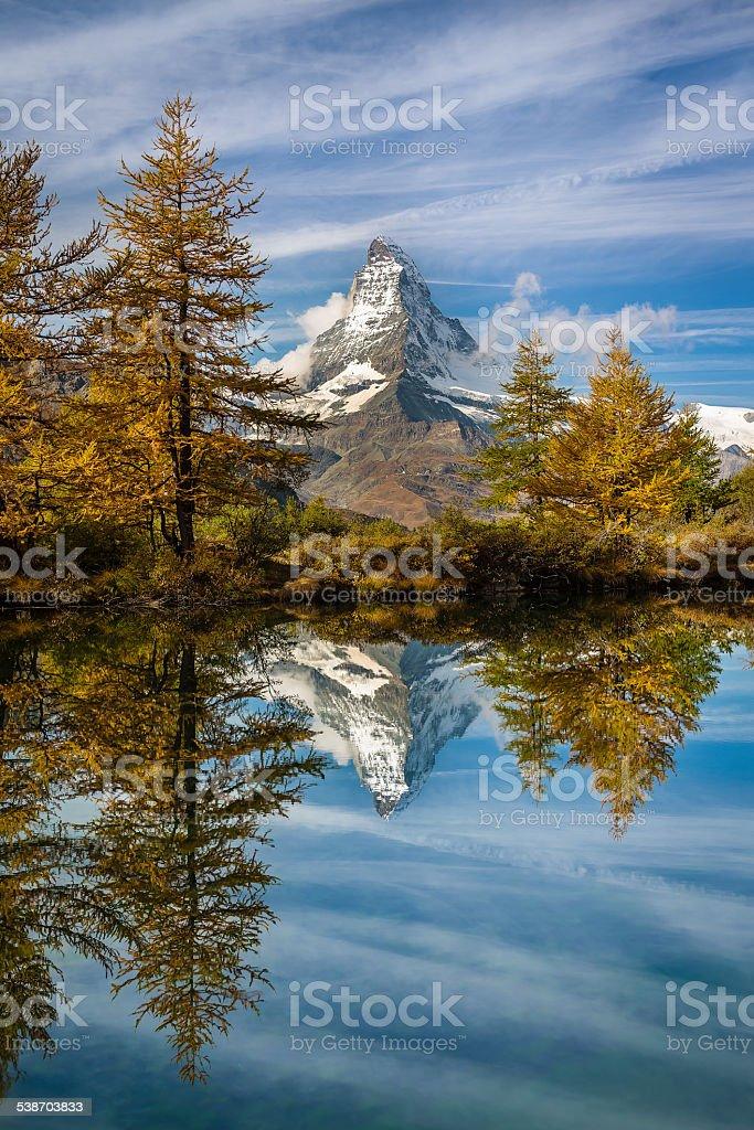 Reflection of Matterhorn in late Autumn, Switzerland stock photo