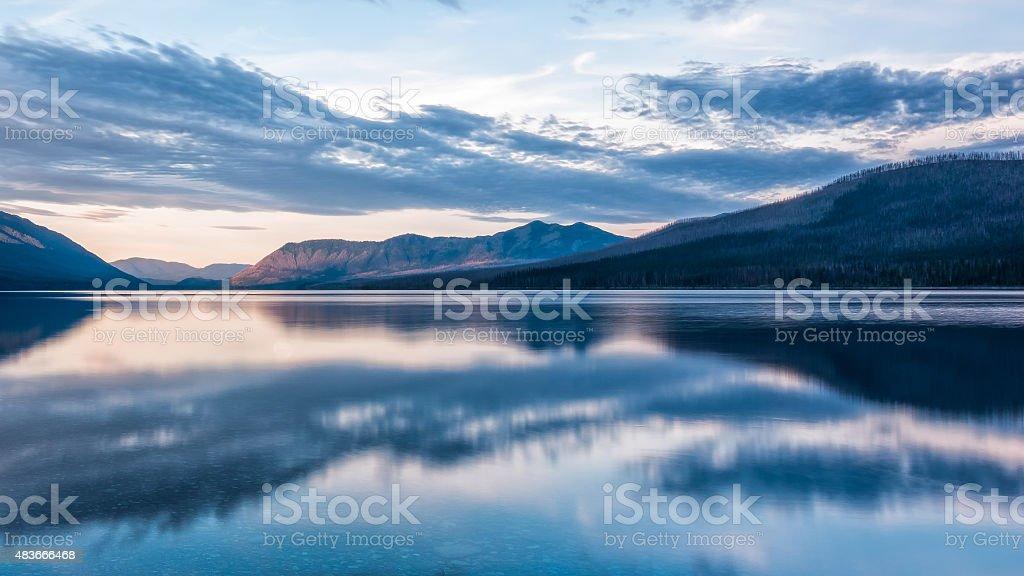Reflection of Mcdonald Lake stock photo