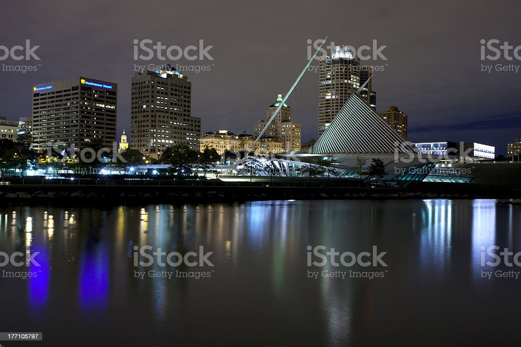 Reflection of Milwaukee city skyline in the lake stock photo