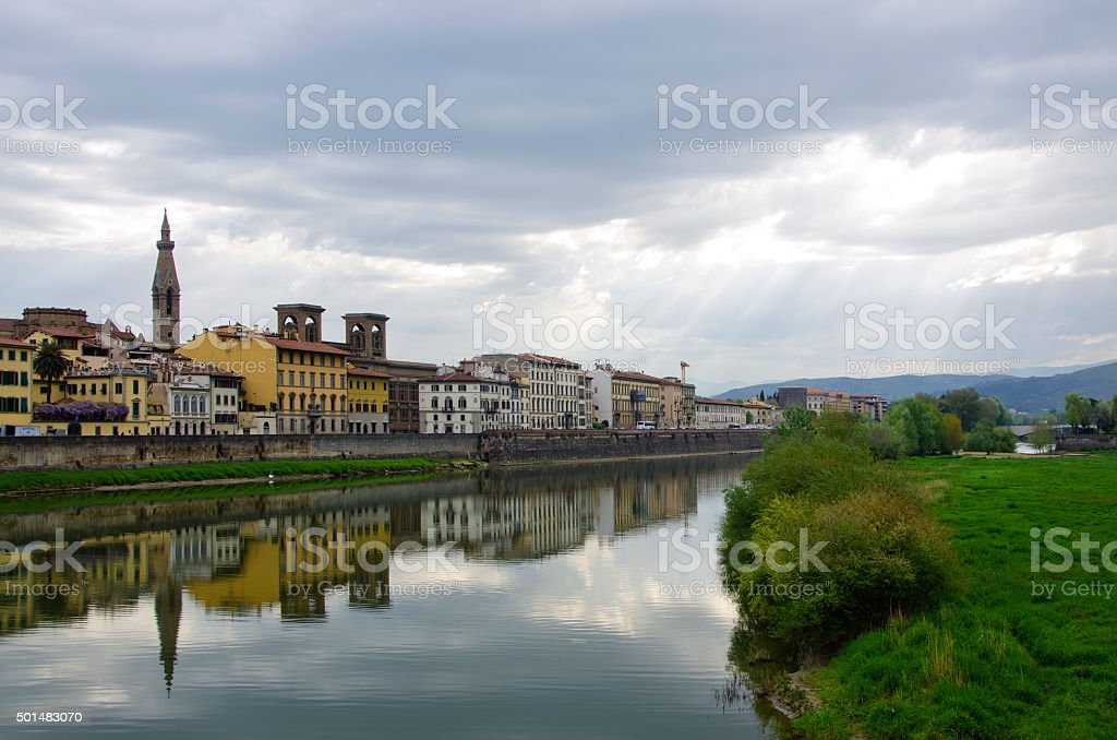Reflection of Morning Light in the Arno River, Florence, I stock photo