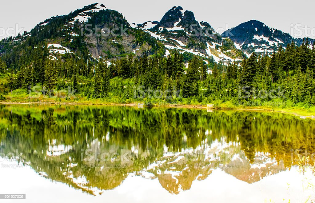 Reflection of Mount Baker stock photo