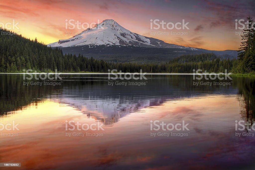 Reflection of Mount Hood on Trillium Lake at Sunset stock photo