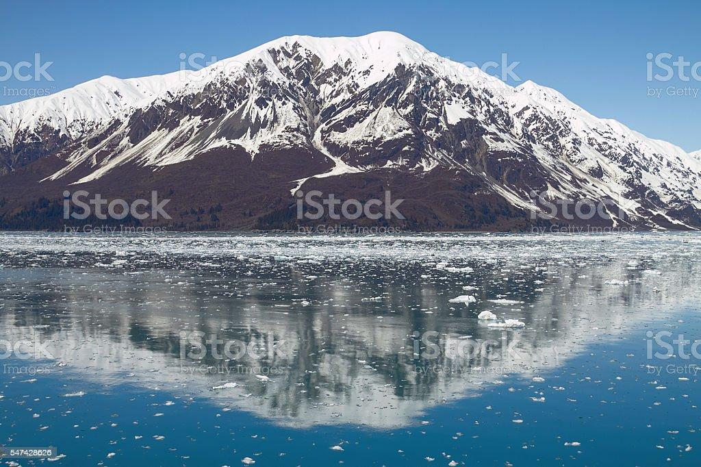 Reflection of Mountain Close to Hubbard Glacier in Alaska stock photo