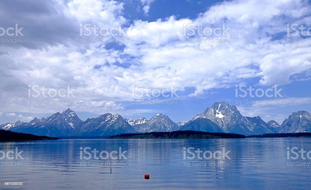 Reflection of mountais in calm water. stock photo