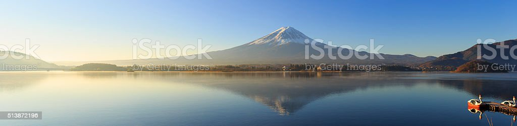 Reflection of Mt Fuji in lake Kwaguchi stock photo