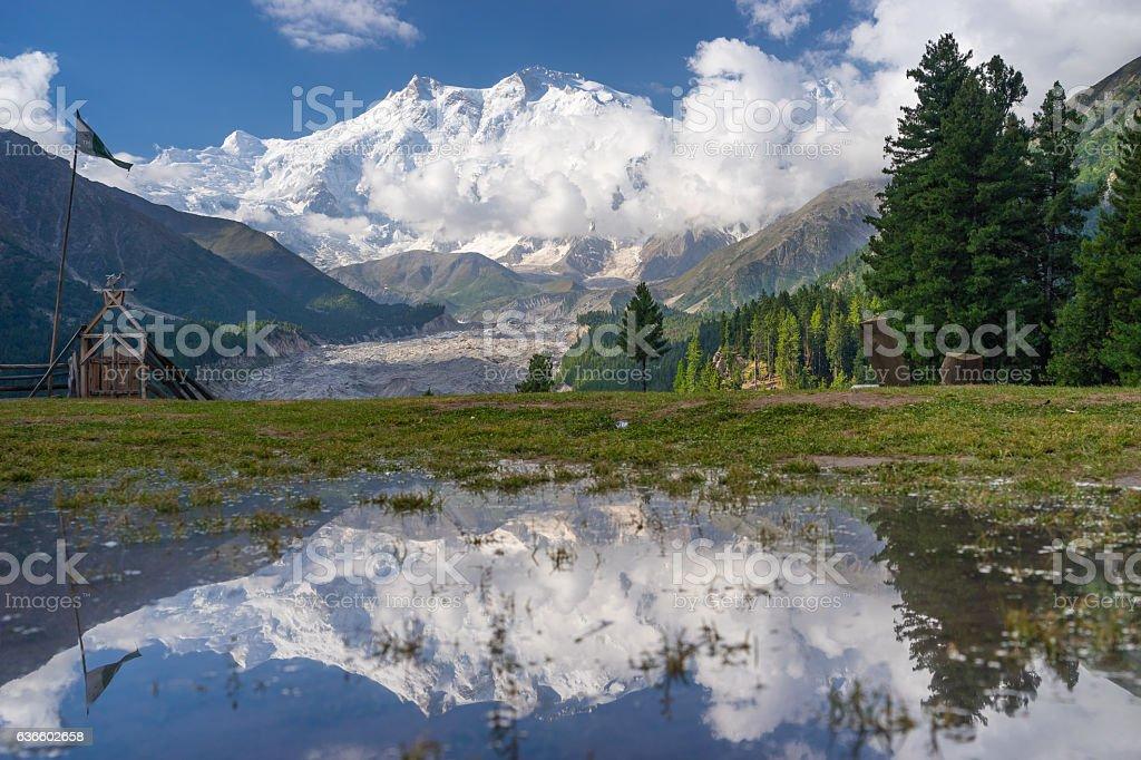 Reflection of Nanga Parbat mountain, Fairy Meadow, Gilgit, Pakistan stock photo