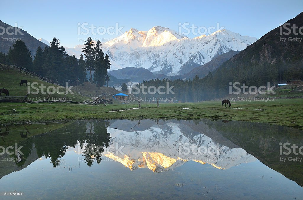 Reflection of nanga parbat 's peak at fairy meadows ,Pakistan stock photo