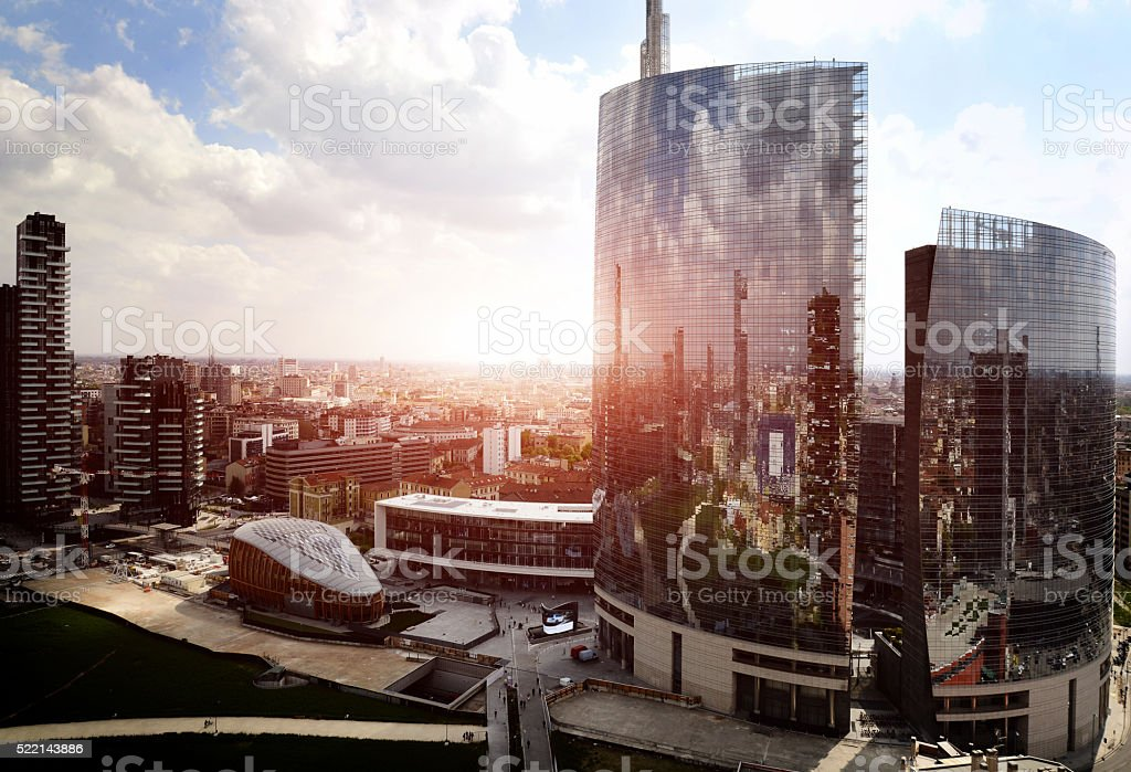reflection of new modern district in Milan stock photo