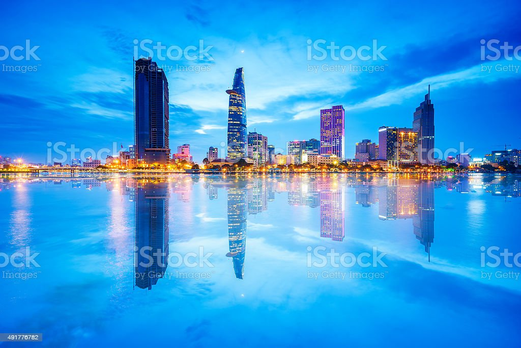 Reflection of Nightview of Business and Administrative Center of Saigon stock photo