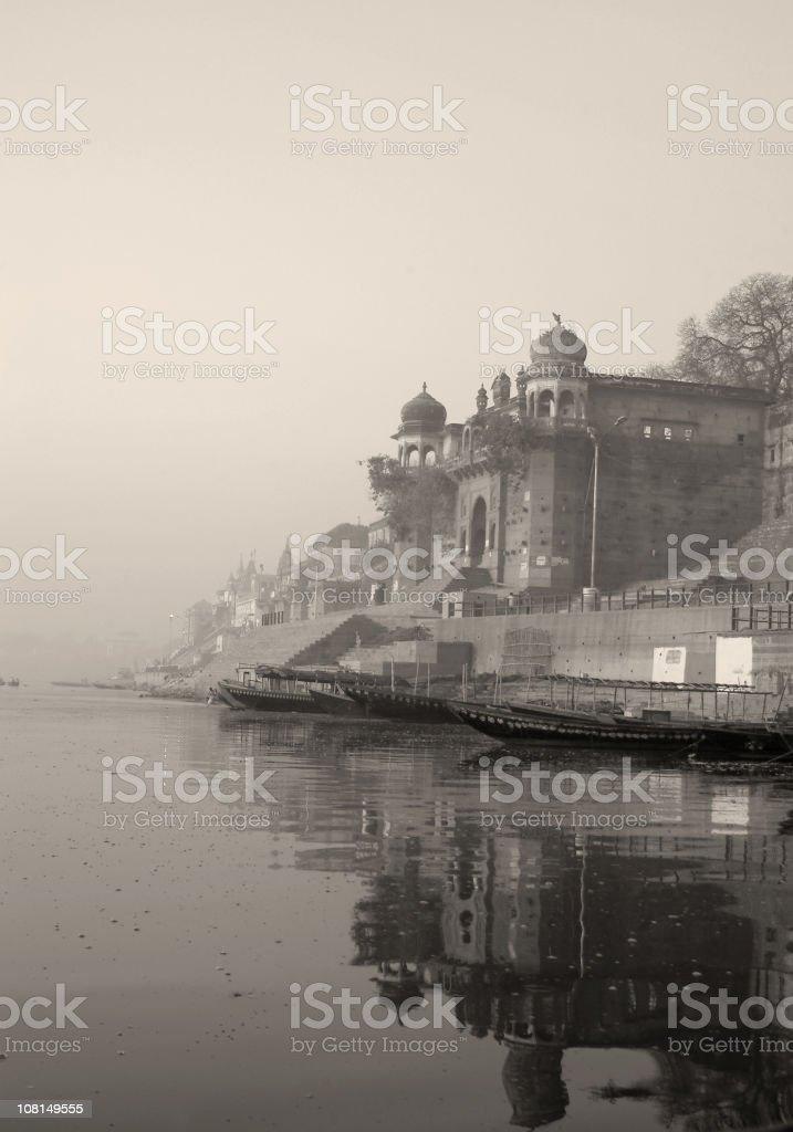 Reflection of Palace on Ganga River India, Black and White royalty-free stock photo